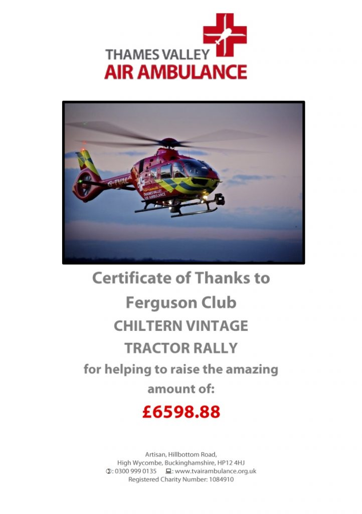 Thank You Certificate 2016 Chiltern Tractor Rally